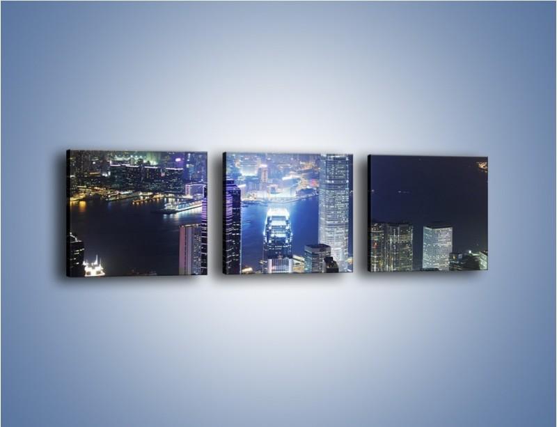 Obraz na płótnie – Miasto oświetlone nocą – trzyczęściowy AM223W1
