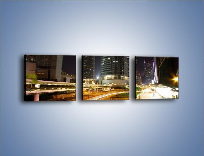Obraz na płótnie – Miasto w nocnym ruchu ulicznym – trzyczęściowy AM225W1