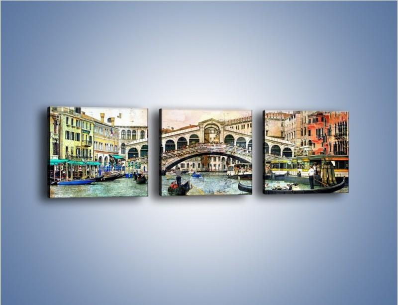 Obraz na płótnie – Wenecja w stylu vintage – trzyczęściowy AM239W1