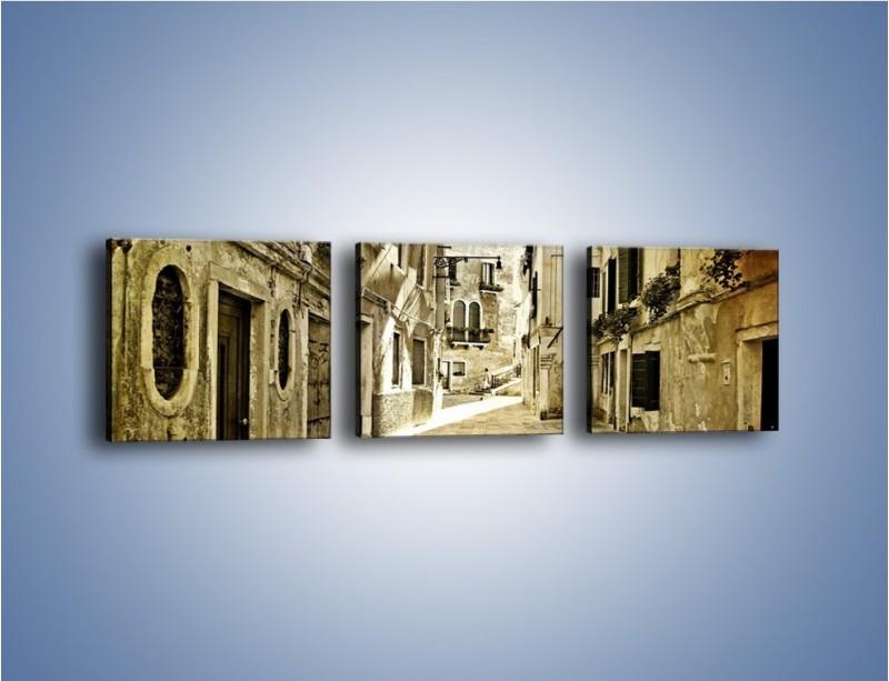 Obraz na płótnie – Stara uliczka w stylu vintage – trzyczęściowy AM243W1