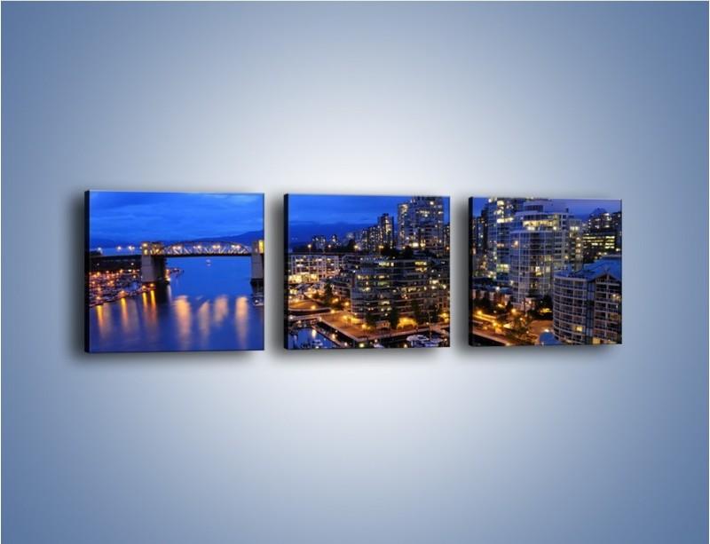 Obraz na płótnie – Port na jachty w mieście nocą – trzyczęściowy AM250W1