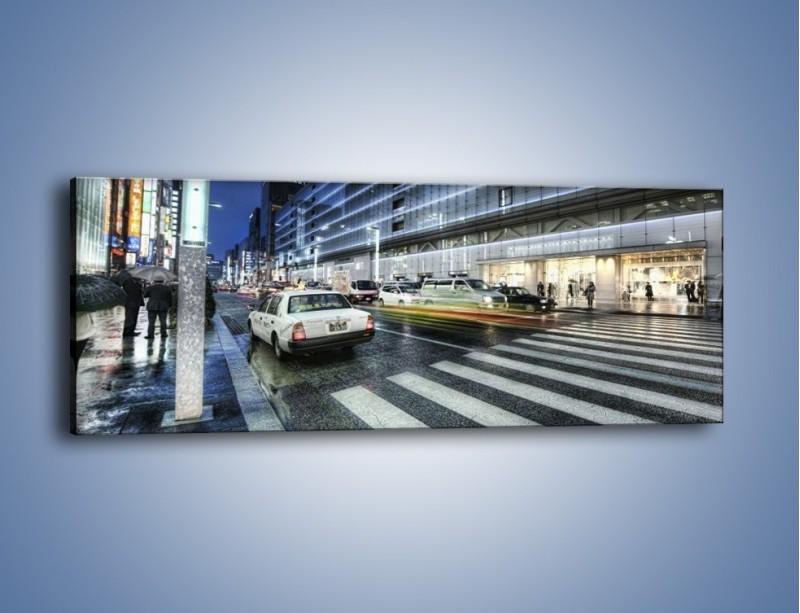 Obraz na płótnie – Ulica Tokyo w deszczu – jednoczęściowy panoramiczny AM613