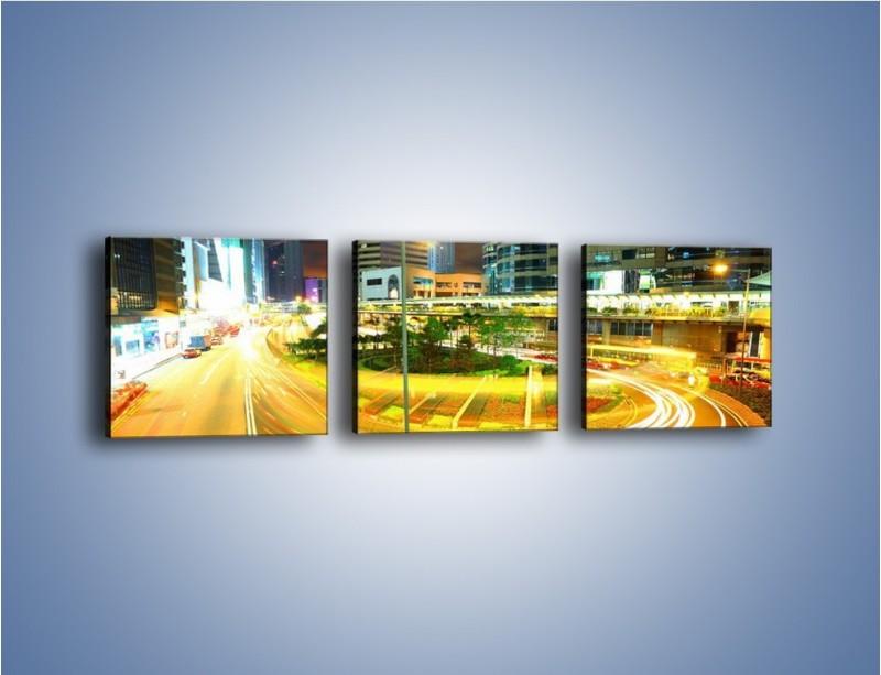Obraz na płótnie – Światła samochodów w ruchu – trzyczęściowy AM280W1