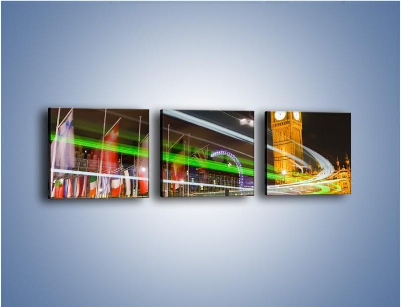 Obraz na płótnie – Światła samochodów na tle Big Bena – trzyczęściowy AM283W1