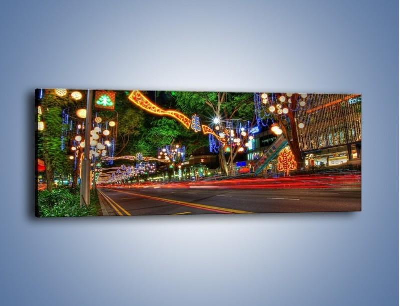 Obraz na płótnie – Noworoczne dekoracje w Singapurze – jednoczęściowy panoramiczny AM616