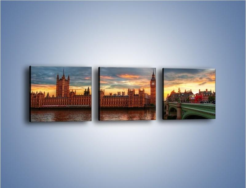 Obraz na płótnie – Pałac Westmnisterski i Big Ben – trzyczęściowy AM321W1