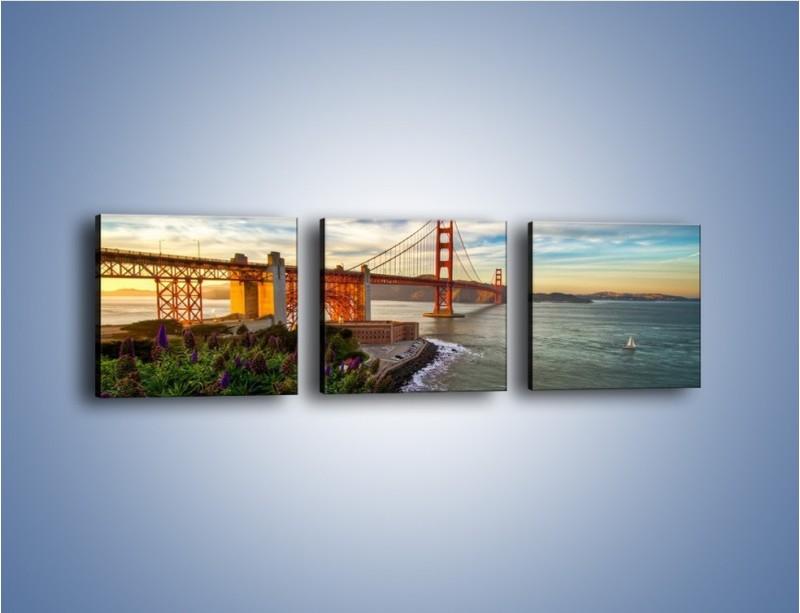 Obraz na płótnie – Most Golden Gate o zachodzie słońca – trzyczęściowy AM332W1