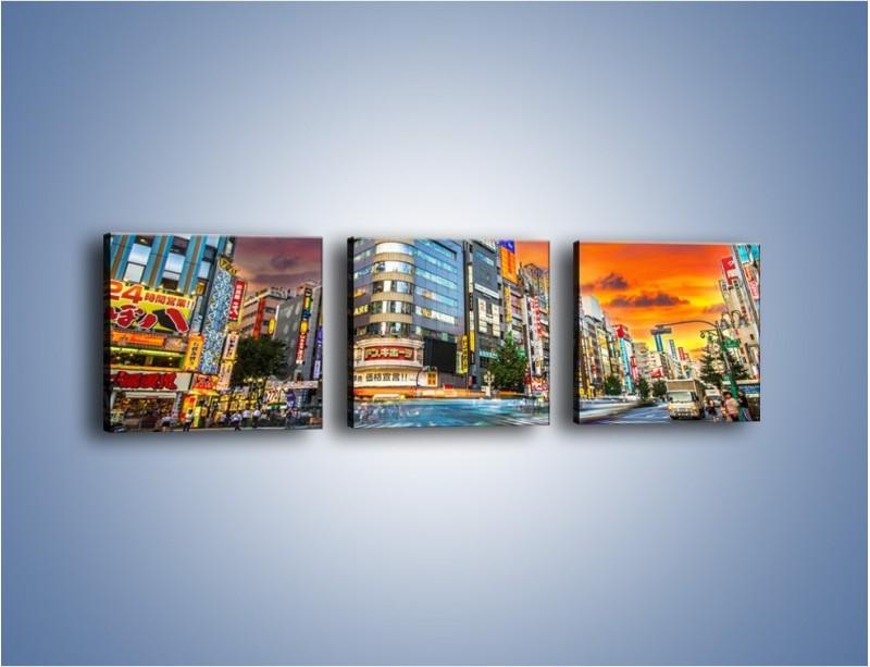 Obraz na płótnie – Tokyo na tle kolorowego nieba – trzyczęściowy AM336W1