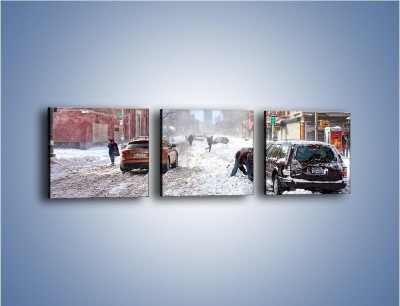 Obraz na płótnie – Zaśnieżone ulice miasta – trzyczęściowy AM342W1
