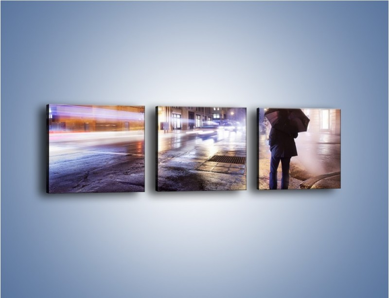 Obraz na płótnie – Deszczowa noc w Nowym Jorku – trzyczęściowy AM343W1