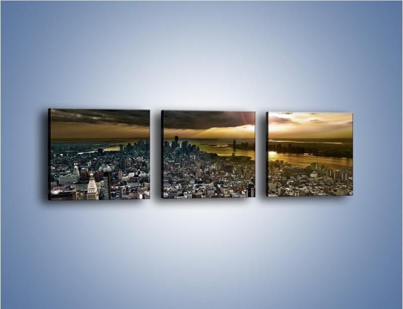 Obraz na płótnie – Czarne chmury nad Nowym Yorkiem – trzyczęściowy AM347W1