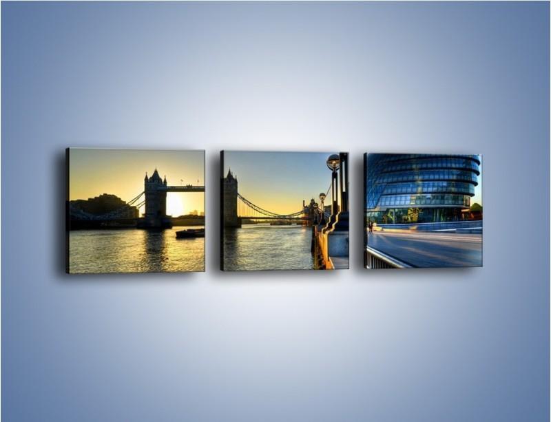 Obraz na płótnie – Londyński Tower Bridge – trzyczęściowy AM348W1