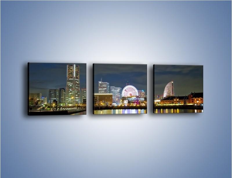Obraz na płótnie – Yokohama nocą – trzyczęściowy AM353W1