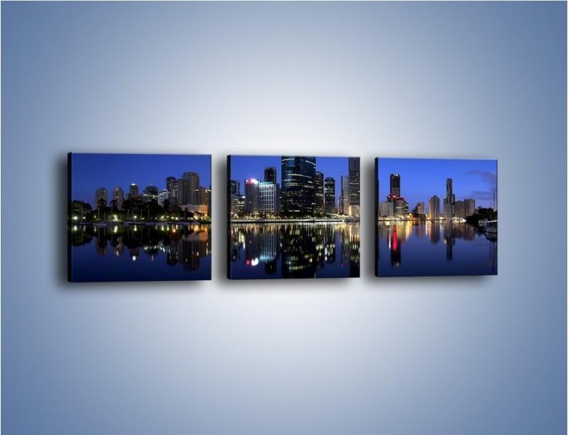 Obraz na płótnie – Brisbane w Australii nocą – trzyczęściowy AM354W1