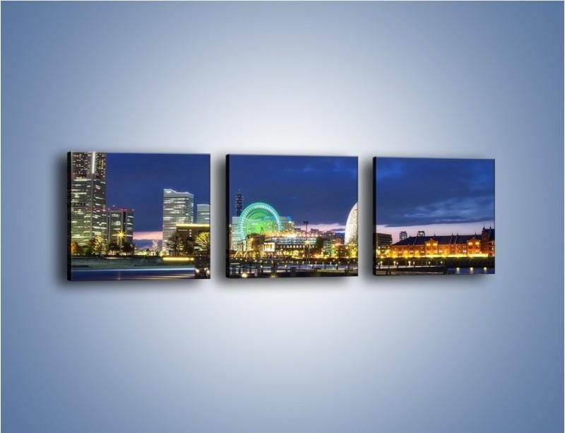 Obraz na płótnie – Rozświetlona Yokohama w nocy – trzyczęściowy AM355W1