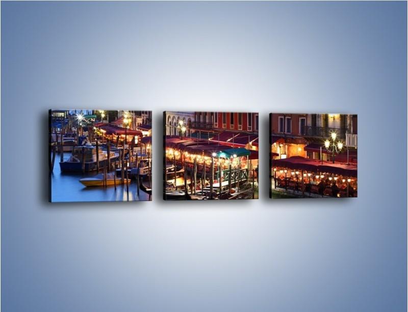 Obraz na płótnie – Wieczorowe życie w Wenecji – trzyczęściowy AM358W1
