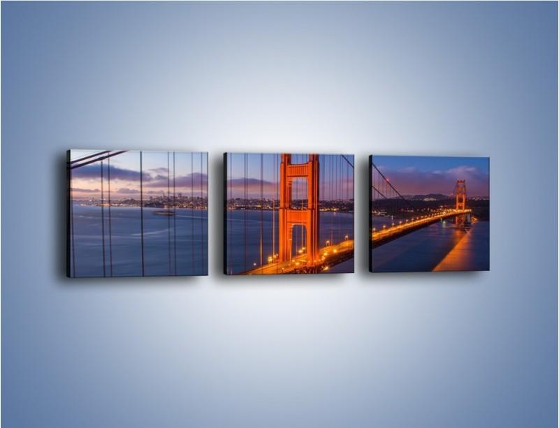 Obraz na płótnie – Rozświetlony most Golden Gate – trzyczęściowy AM360W1