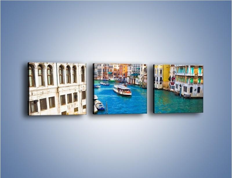 Obraz na płótnie – Kolorowy świat Wenecji – trzyczęściowy AM362W1