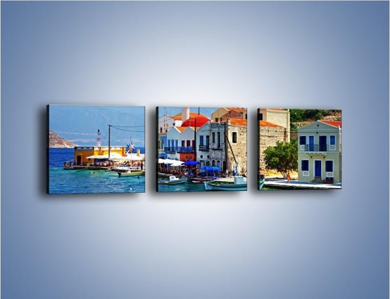 Obraz na płótnie – Kolorowe domki Santorini w Grecji – trzyczęściowy AM364W1