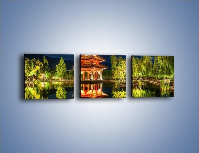 Obraz na płótnie – Urokliwy park w Chinach – trzyczęściowy AM365W1