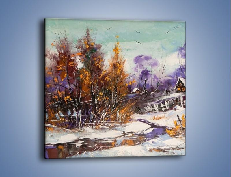 Obraz na płótnie – Domki zimową porą – jednoczęściowy kwadratowy GR023