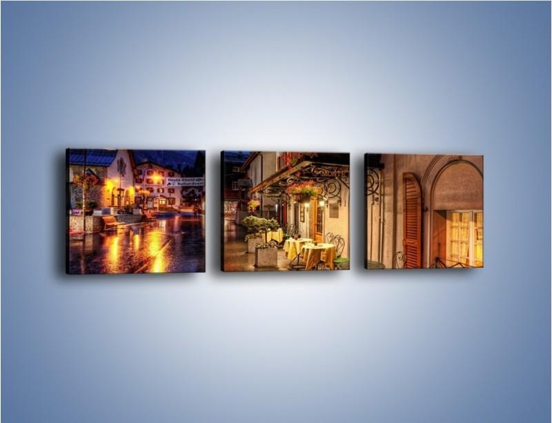 Obraz na płótnie – Romantyczne miasteczko pod Alpami – trzyczęściowy AM368W1