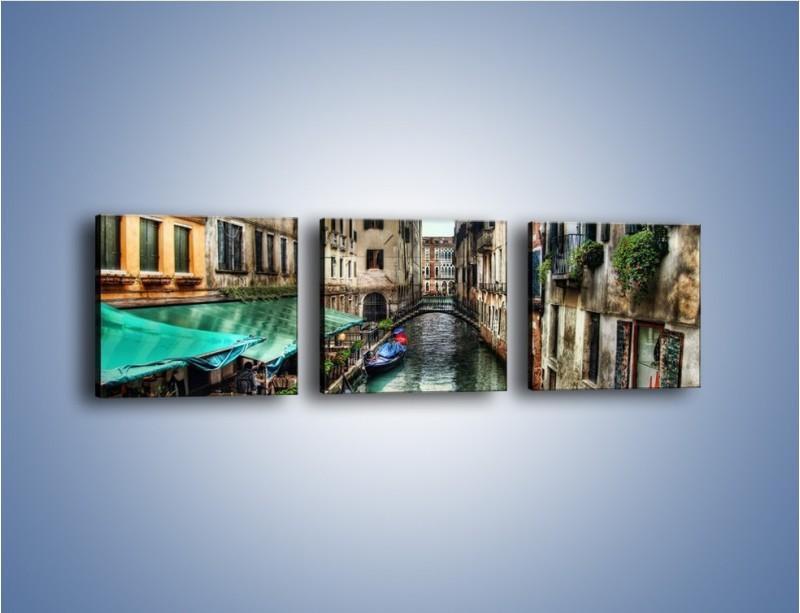 Obraz na płótnie – Wenecka uliczka w kolorach HDR – trzyczęściowy AM374W1