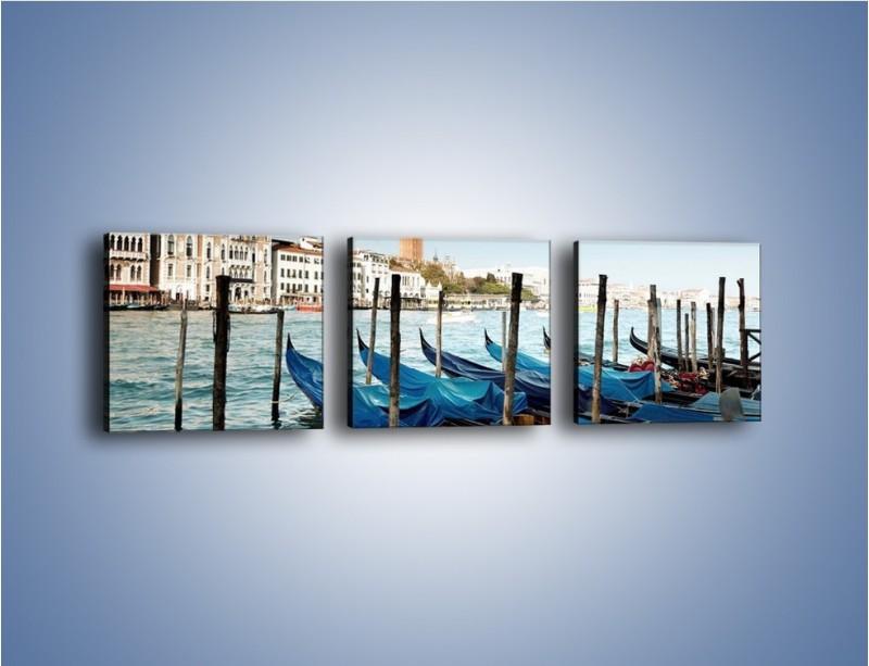 Obraz na płótnie – Zacumowane weneckie gondole – trzyczęściowy AM375W1