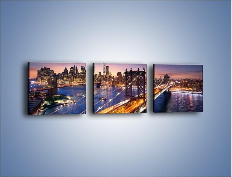 Obraz na płótnie – Zachodzące słońce nad Manhattanem – trzyczęściowy AM377W1