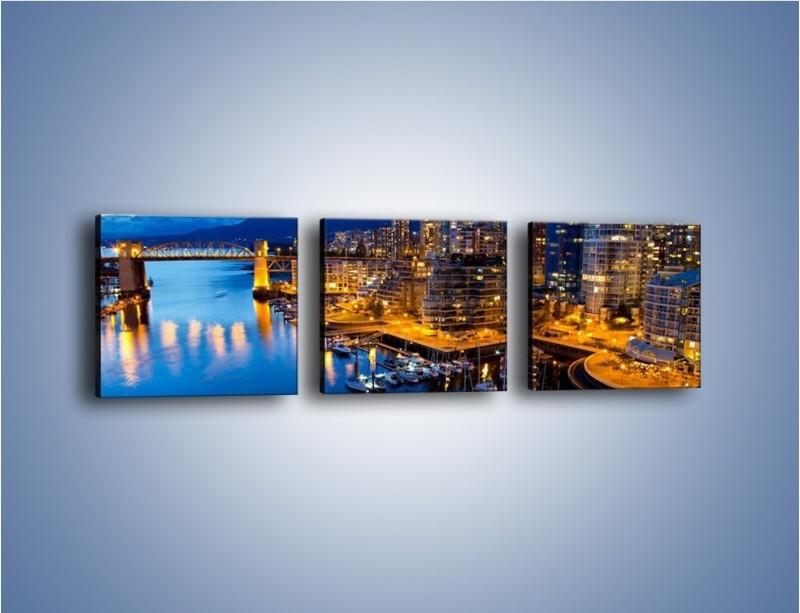 Obraz na płótnie – Zapadająca noc nad Vancouver – trzyczęściowy AM384W1