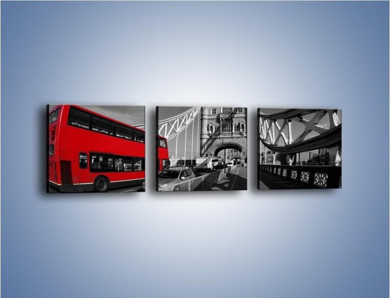 Obraz na płótnie – Tower Bridge i czerwony autobus – trzyczęściowy AM394W1