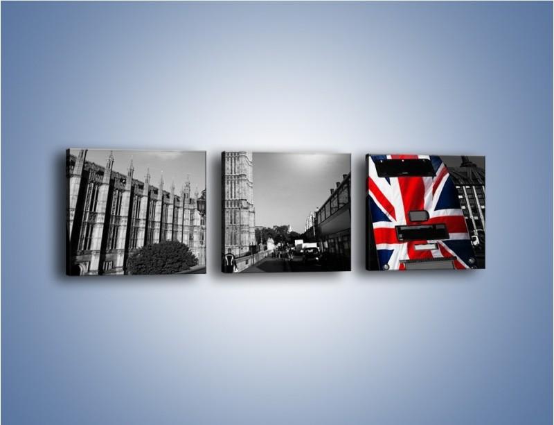 Obraz na płótnie – Big Ben i autobus z flagą UK – trzyczęściowy AM396W1