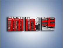 Obraz na płótnie – Czerwony autobus i budki telefoniczne – trzyczęściowy AM397W1