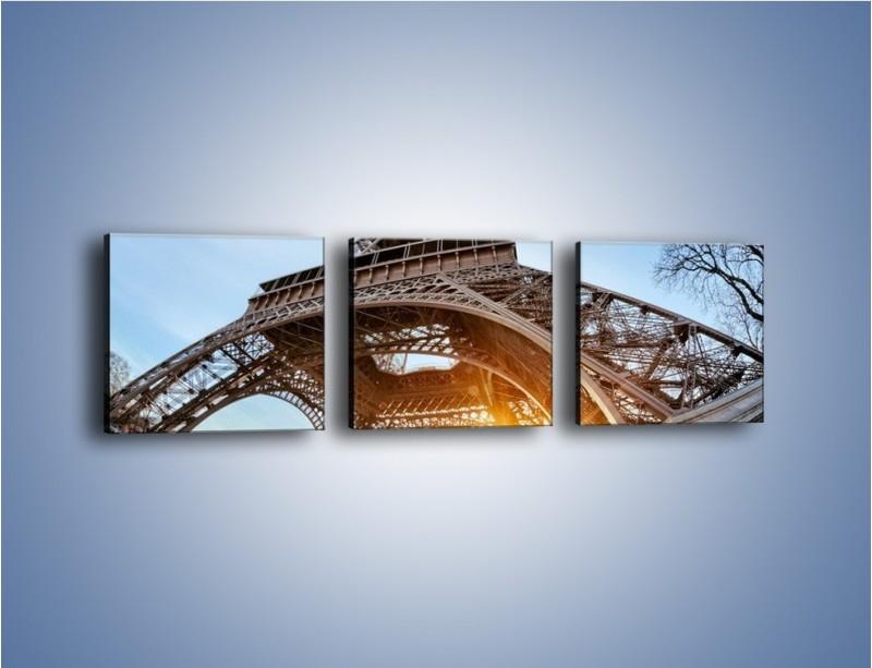 Obraz na płótnie – Wieża Eiffla w słońcu – trzyczęściowy AM403W1