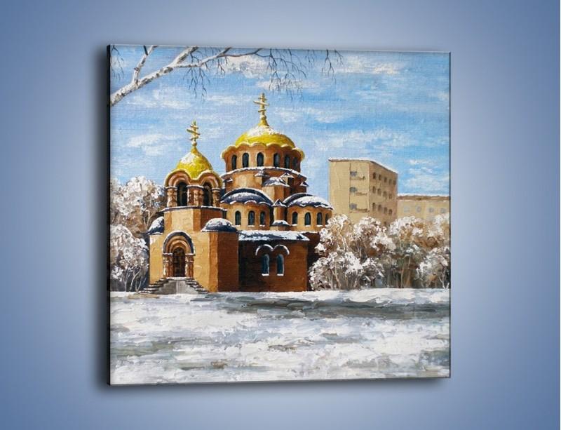 Obraz na płótnie – Cerkiew w trakcie zimy – jednoczęściowy kwadratowy GR024