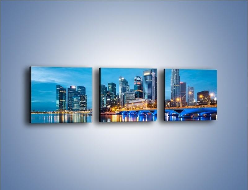 Obraz na płótnie – Kolorowe światła Singapuru – trzyczęściowy AM408W1