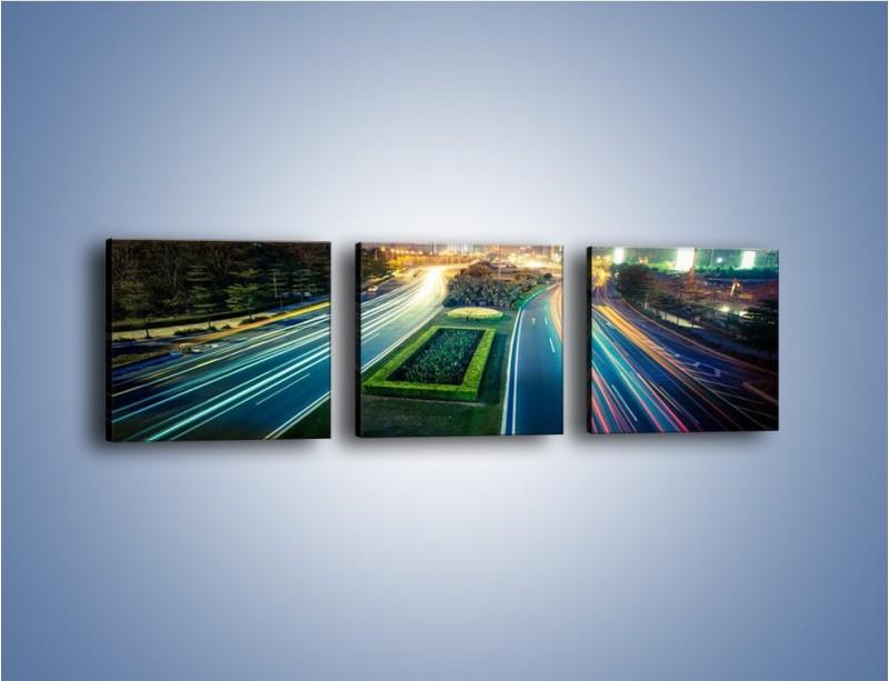 Obraz na płótnie – Uliczne światła Szanghaju – trzyczęściowy AM409W1