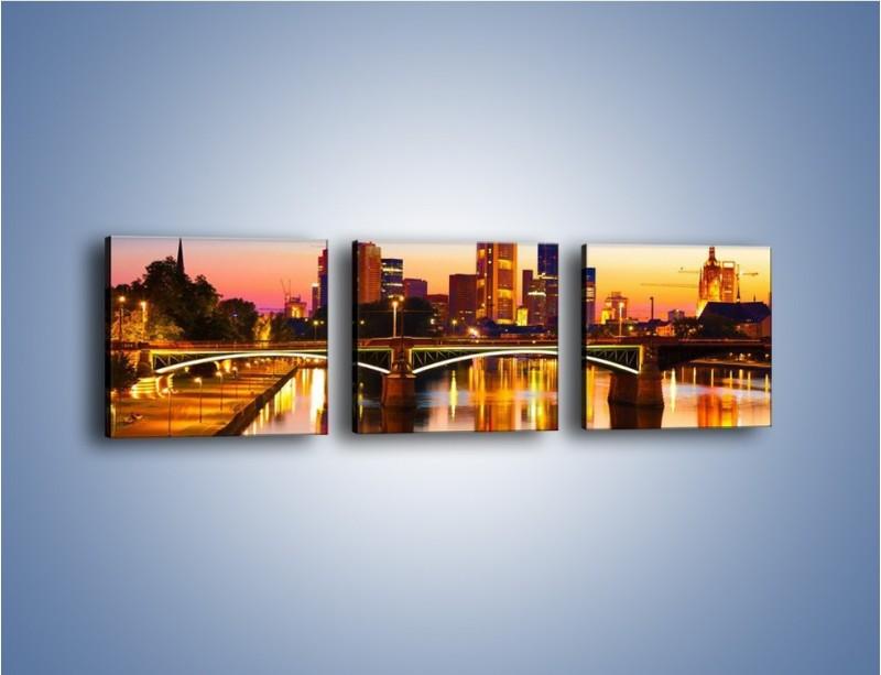 Obraz na płótnie – Oświetlony most we Frankfurcie – trzyczęściowy AM416W1