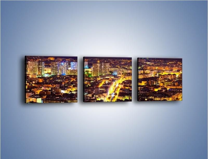 Obraz na płótnie – Kolory Paryża nocą – trzyczęściowy AM419W1