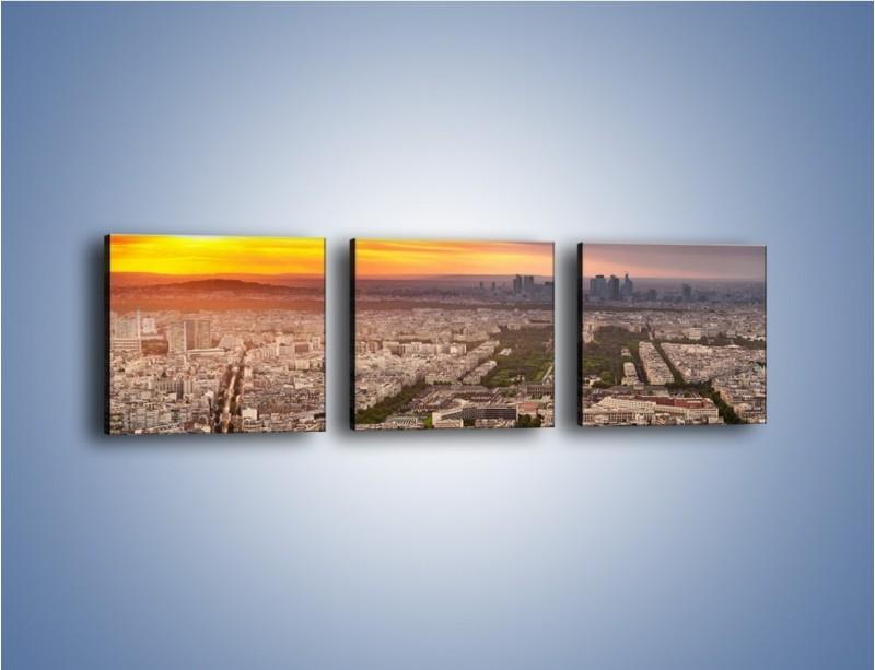 Obraz na płótnie – Zachód słońca nad Paryżem – trzyczęściowy AM420W1