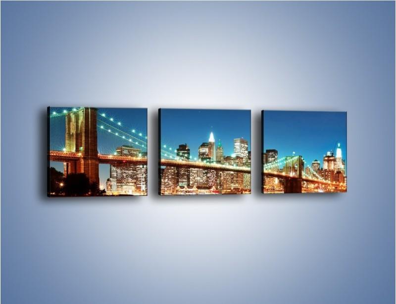 Obraz na płótnie – Most Brookliński na tle Nowego Jorku – trzyczęściowy AM428W1
