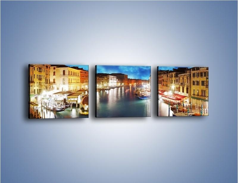 Obraz na płótnie – Światła Wenecji po zmroku – trzyczęściowy AM430W1