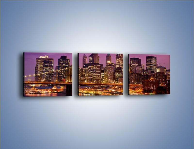 Obraz na płótnie – Nowy York pod fioletowym niebem – trzyczęściowy AM434W1