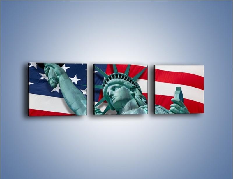 Obraz na płótnie – Statua Wolności na tle flagi USA – trzyczęściowy AM435W1