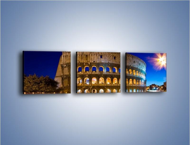 Obraz na płótnie – Koloseum po zmierzchu – trzyczęściowy AM443W1