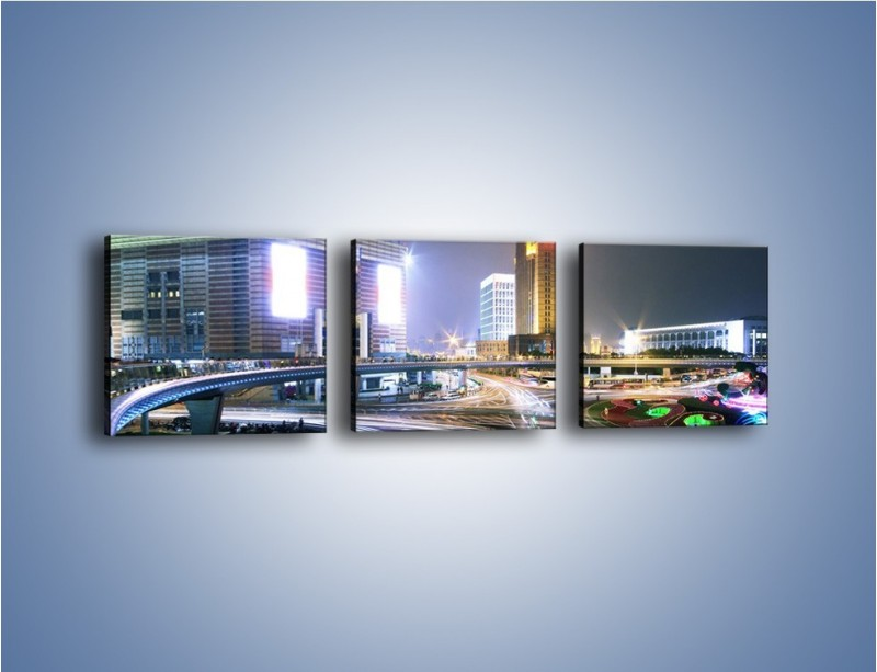 Obraz na płótnie – Oświetlone skrzyżowanie ulic w Szanghaju – trzyczęściowy AM446W1