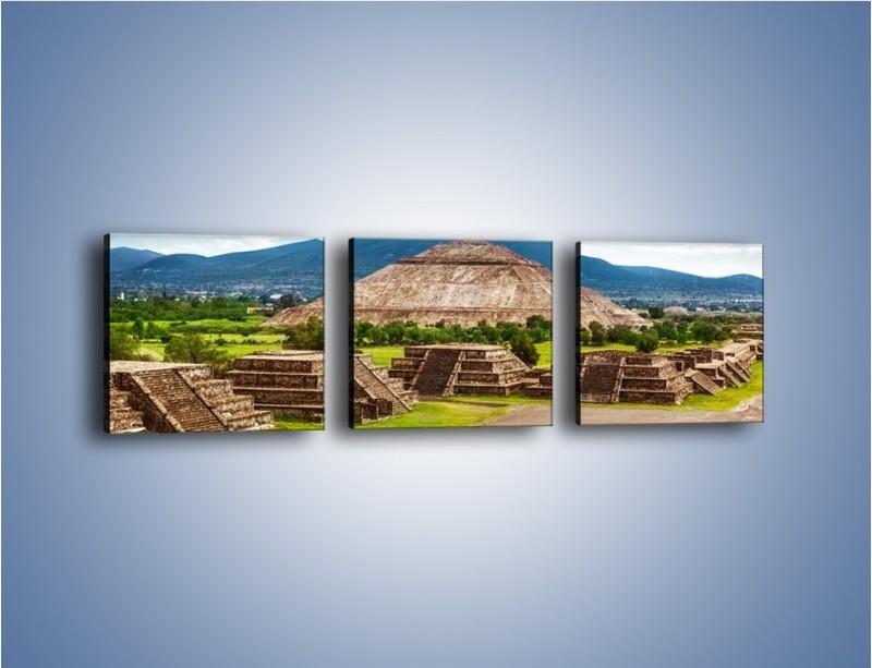 Obraz na płótnie – Piramida Słońca w Meksyku – trzyczęściowy AM450W1