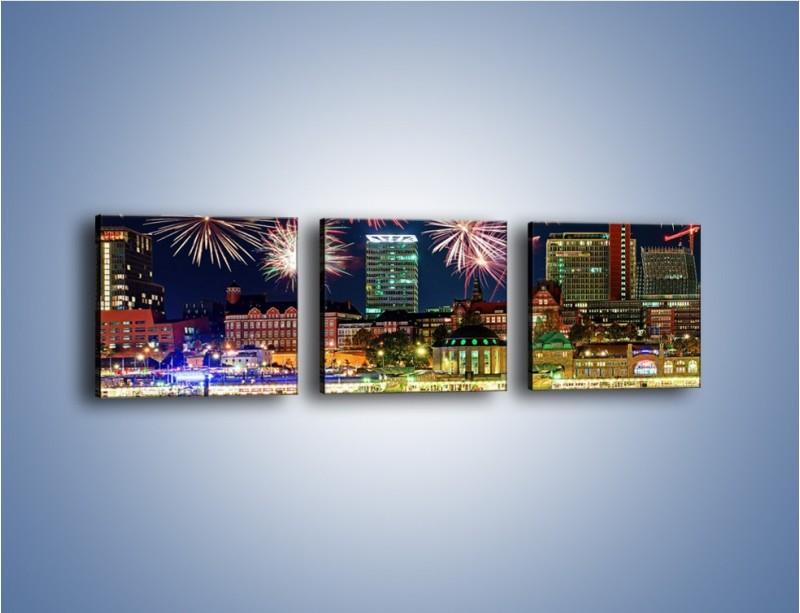 Obraz na płótnie – Noworoczne fajerwerki nad miastem – trzyczęściowy AM452W1
