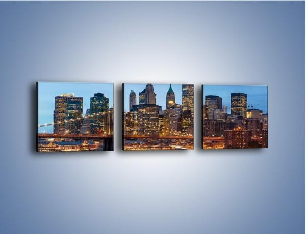 Obraz na płótnie – Manhattan w Nowym Yorku o poranku – trzyczęściowy AM453W1