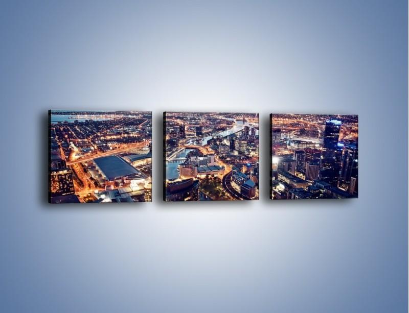 Obraz na płótnie – Panorama Melbourne po zmierzchu – trzyczęściowy AM470W1